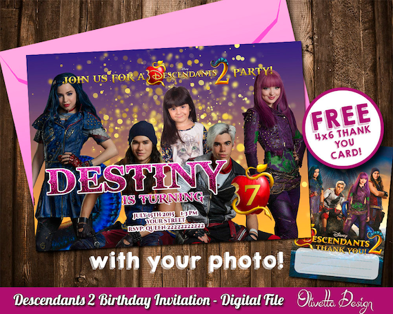 Descendants 2 Invitation For Birthday Party With Your Photo