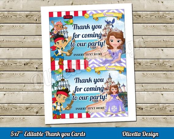 Princesita Sofia Y Jake Pirata Descarga Instantanea Tarjeta De Agradecimiento 5x7 Para Cumpleaños Archivo Digital 2 Modelos Incluídos