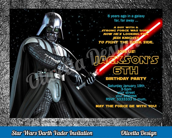 image regarding Star Wars Birthday Invitations Printable identified as Darth Vader Invitation, Star Wars Invitation, Star Wars