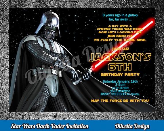 Darth Vader Invitation Star Wars Invitation Star Wars Birthday