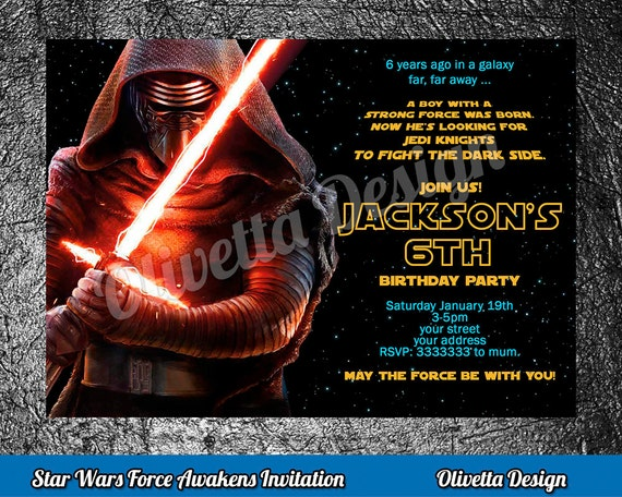Kylo Ren Invitation The Last Jedi Star Wars Birthday Printable New Movie Invite