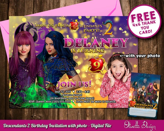 Descendants 2 Invitation For Birthday Party With Your Photo Uma