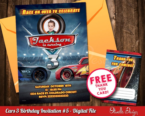 Cars 3 Invitation For Birthday Party With Photo Lightning Mcqueen Digital File Id3