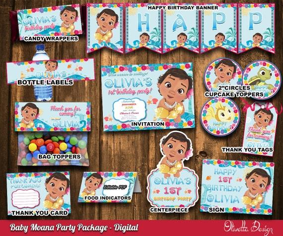 Moana Party Package Invitation Printable Digital File Birthday Vaiana