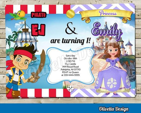 Princesita Sofia Y Jake Pirata Invitacion Para Cumpleaños Mixta Archivo Digital