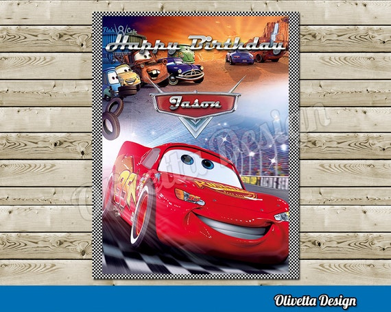 Disney Cars Happy Birthday Sign Welcome Sign With Custom Name