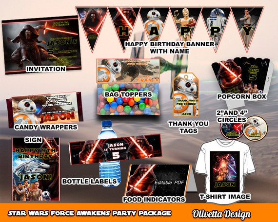 Star Wars Birthday Party Package Printable Party Customized