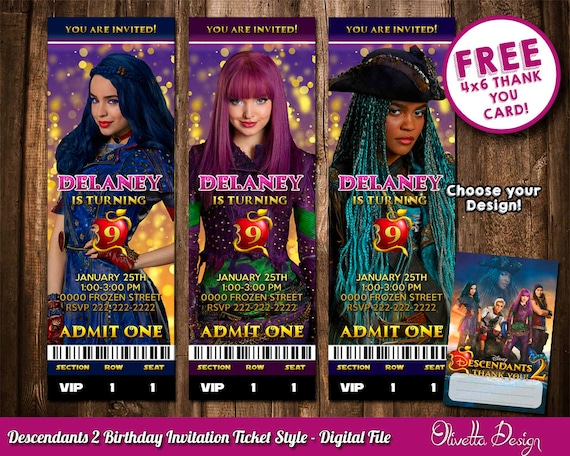 Descendants 2 Invitation For Birthday Party Uma Mal Evie