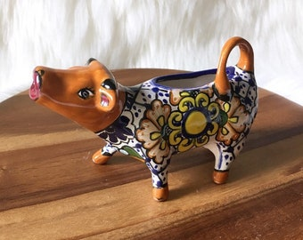 Cermaic Creamer Cow Mexican Pottery