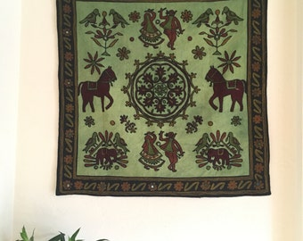 Square Folk Embroidered Wall Tapestry