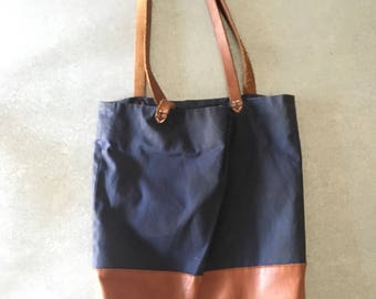 AW by Andrea Wang Leather / Waxed Canvas Tote Bag, Navy Blue