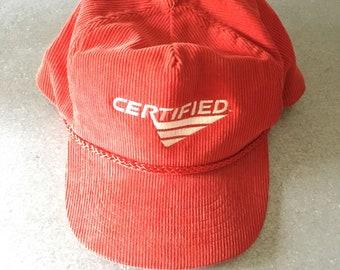 Red Cordiroy 90s Dad Hat snapback cap