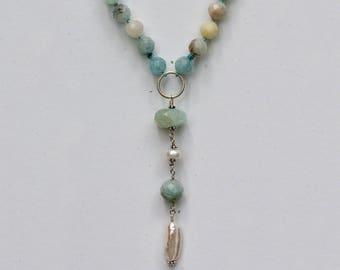 Aquamarine Long Pendant Necklace
