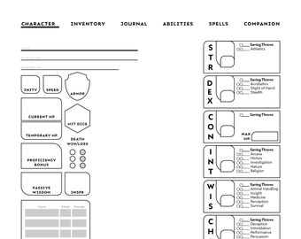 SORCERER-SPECIFIC D&D Character Sheet | Etsy