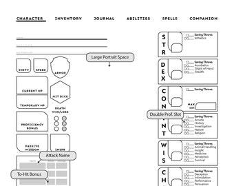 graphic regarding 5e Character Sheet Printable called 5e individuality sheet Etsy