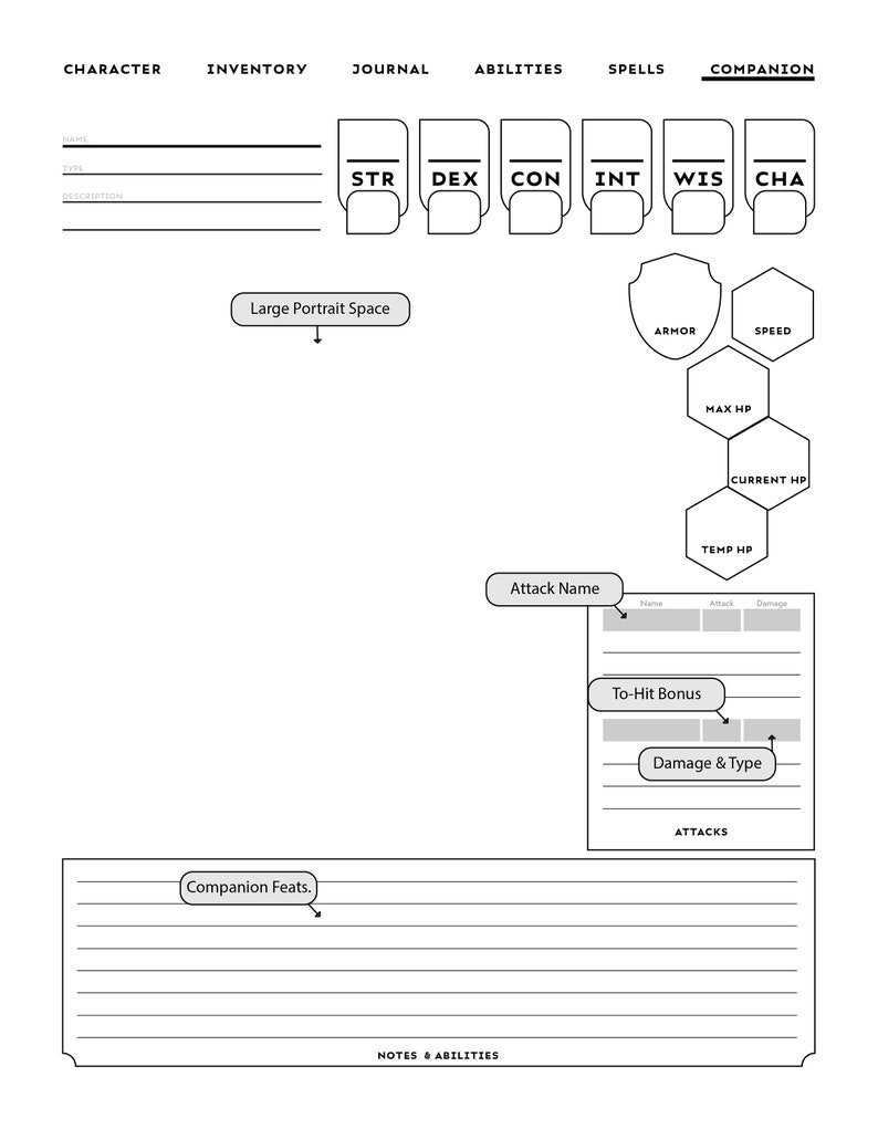 CLERIC-SPECIFIC D&D Character Sheet