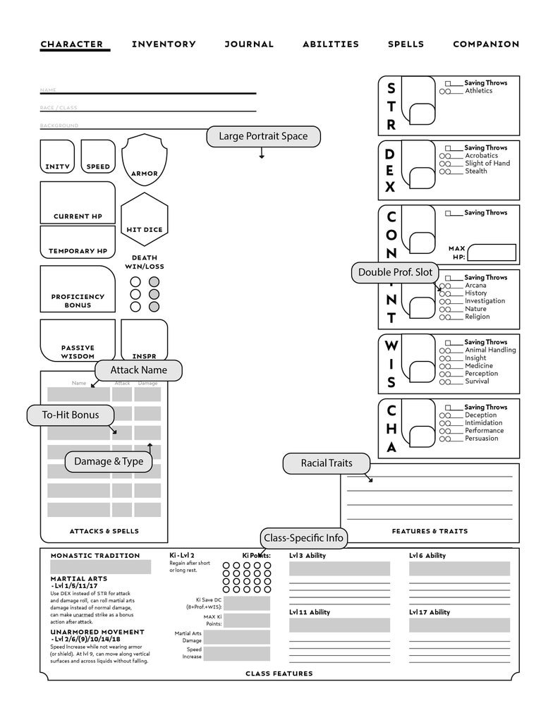 photograph about Printable 5e Character Sheet identify ALL Course-Person DD Personality Sheets