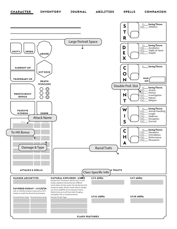 New Form Fillable Ranger Specific D D Character Sheet Etsy