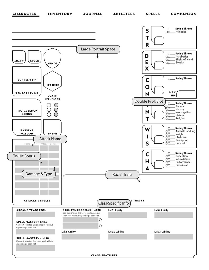 Form-Fillable WIZARD-SPECIFIC D&D Character Sheet // Printable image 0