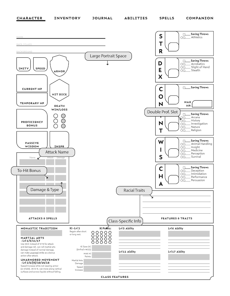 graphic relating to Printable Dungeons and Dragons Character Sheet titled MONK-Particular person DD Persona Sheet