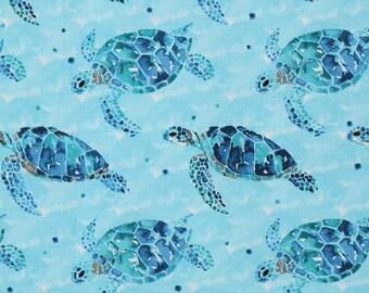 Ocean Blue Sea Turtles Fabric - Tropical - Beach - Sea life - Underwater Fabric - Caribbean - Costa Rica - 100% Lightweight Cotton