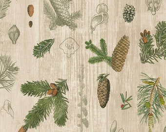 Pine Cones & Greenery Fabric - Wilderness - Forest - Foliage - Nature - Trees - Acorns - Barnwood - Outdoors - 100% Lightweight Cotton