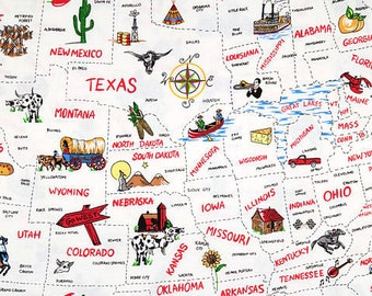 USA States Fabric - by Fabric Traditions - America - Vacation - Landmarks - Icons - Travel Fabric - Road Trip - 100% Lightweight Cotton
