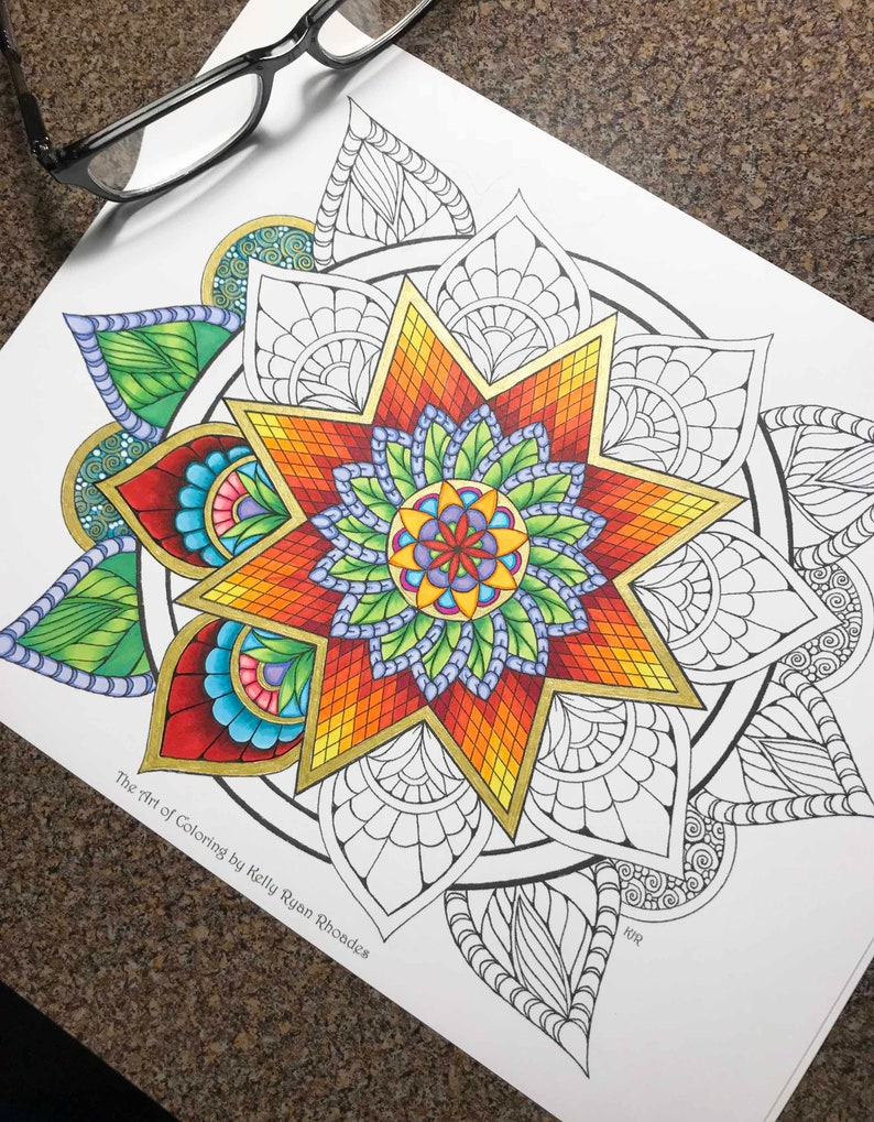 Coloriage Adulte Soleil.Adulte Coloriage Soleil Mandala Floral Page Eclat A La Main Etsy