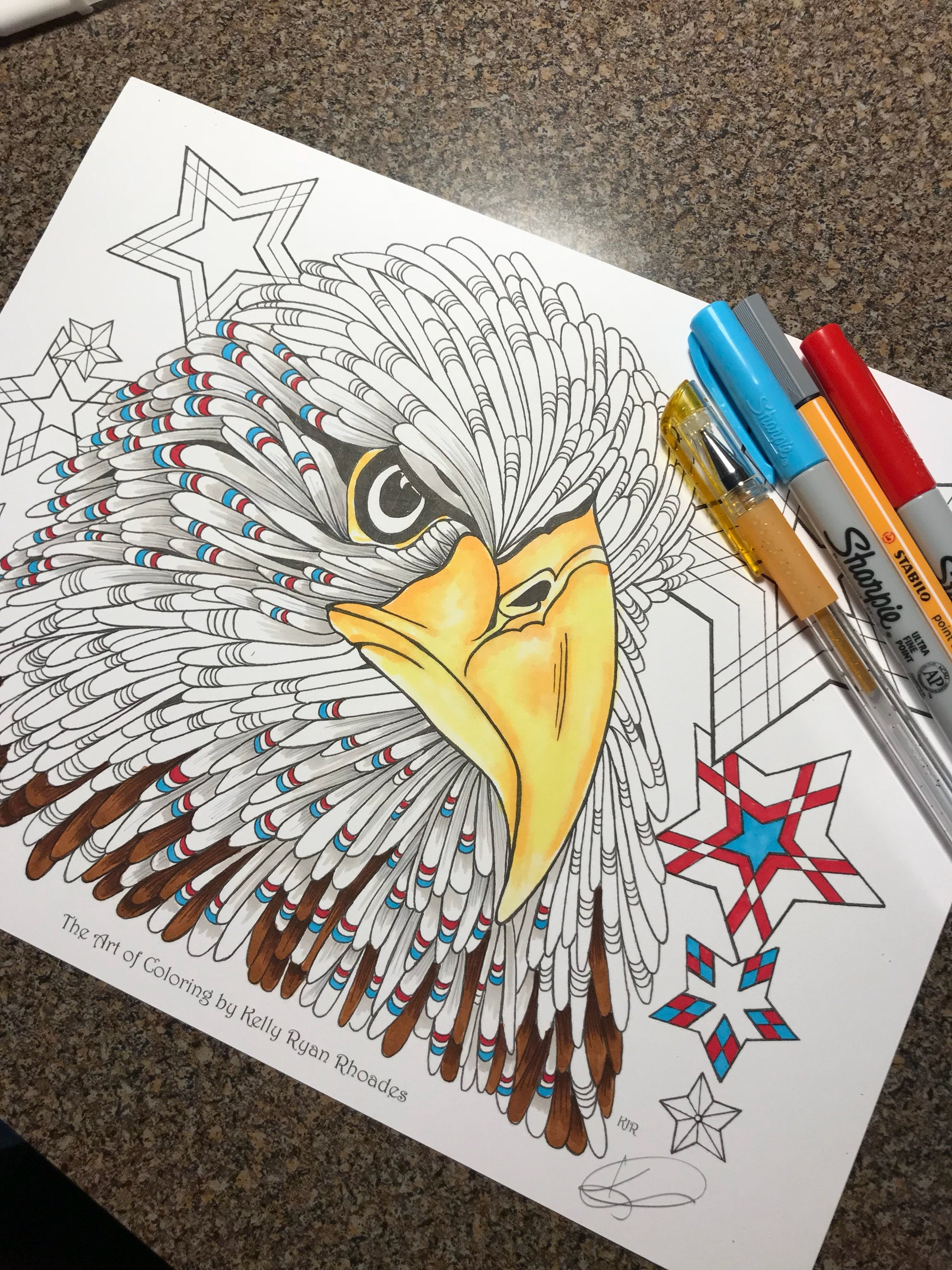 Coloring page from an Original drawing, American Eagle