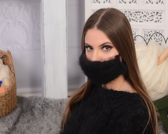 Crochet Mohair  face mask cover , Face warmer Reusable knit mask , Fluffy face mask , Fuzzy mask T741W