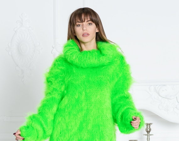 Neon Green Mohair Sweater, Cowl Neck Knitted Sweater T585