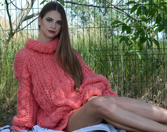 Ready to ship in size 5 xl , Corail Cable knit wool sweater hand knitted on big needles T796