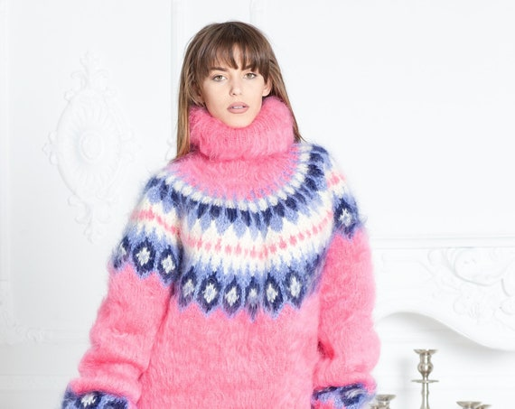 Pink Mohair Sweater, Icelandic Sweater, Hand Knit Sweater, Men Mohair Sweater, Norwegian Sweater, Fluffy Huge Sweater, Nordic Sweater T591