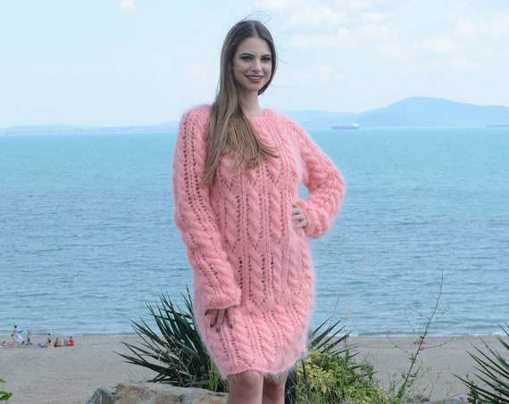 Corail Cable knit mohair sweater dress, Lace Knitting dress, Fuzzy pullover dress, Knee High Sweater dress T797