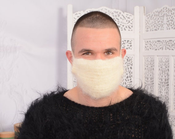 Crochet Mohair  face mask cover , Face warmer Reusable knit mask , Fluffy face mask , Fuzzy mask T740M