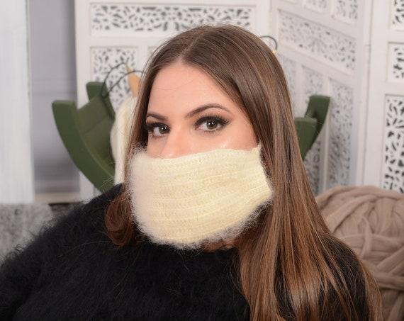 Crochet Mohair  face mask cover , Face warmer Reusable knit mask , Fluffy face mask , Fuzzy mask T740