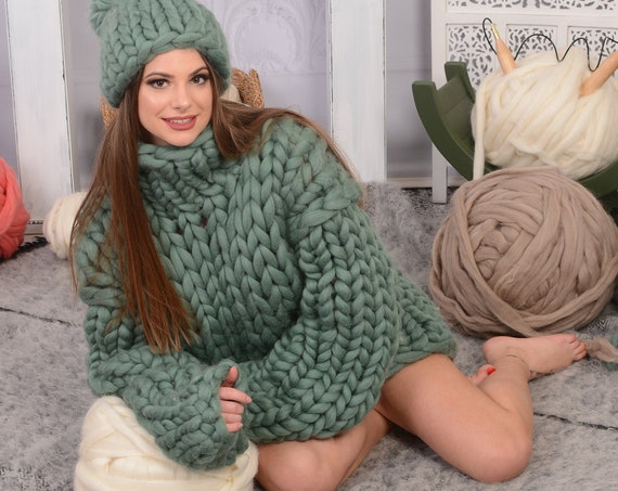 100% merino wool sweater, Chunky knit sweater in many colors, Super warm winter sweater  T716W
