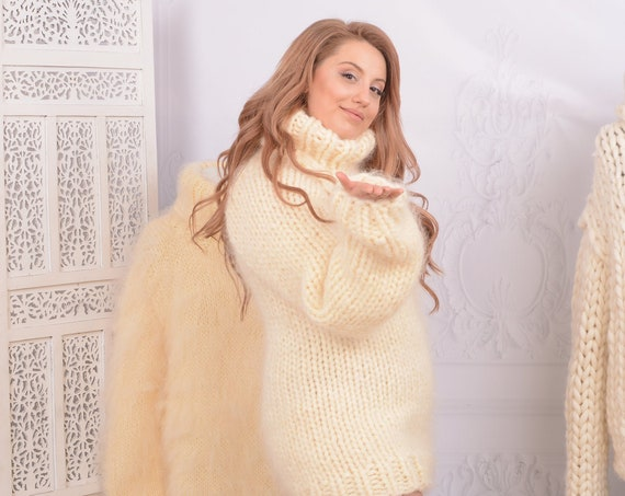 10 strands Hand knitted Mohair Sweater in cream colour, Sexy Fluffy and fuzzy Sweater  T743