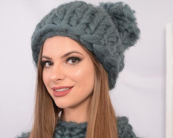 Ready to ship Grey Merino Hat, Wool Beanie, Warm winter hat, Merino wool beanie, Super Chunky Hat, Knitted Hat T728