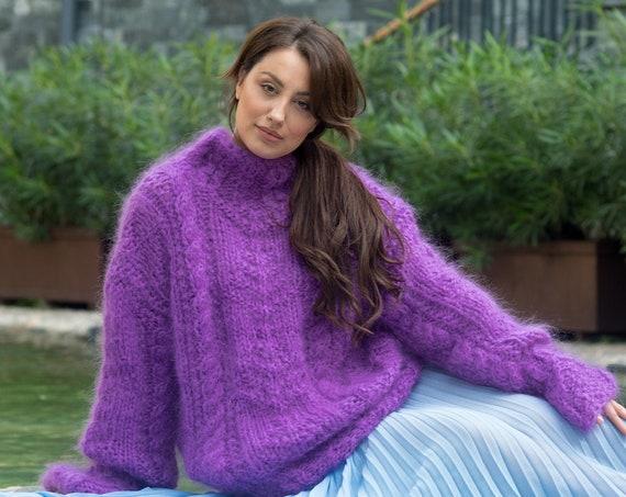Purple mohair sweater, Light chunky sweater, Sexy bright sweater, handknit sweater, Bohemian warm sweater, Casual chic sweater T841
