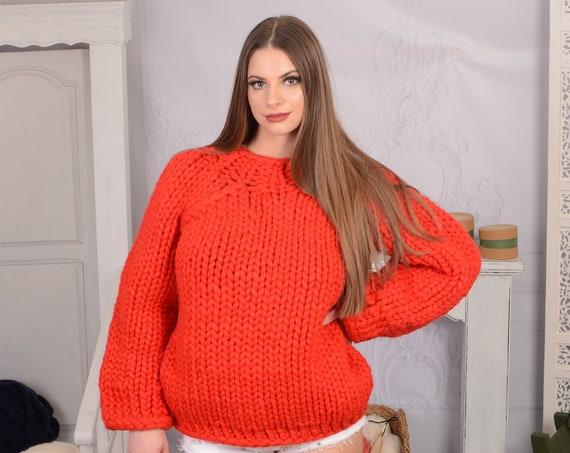 100 % Soft Merino wool Sweater , Red woolen pullover T719W
