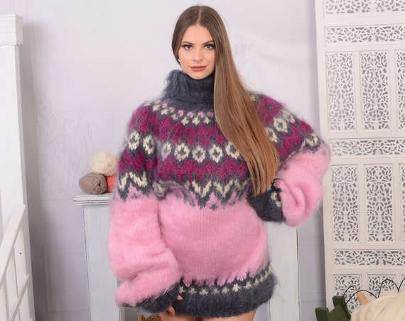 Pink Mohair Sweater, Icelandic Sweater, Icelandic Mohair  Sweater, Norwegian Sweater, Fluffy Huge Sweater, Nordic Sweater T731W