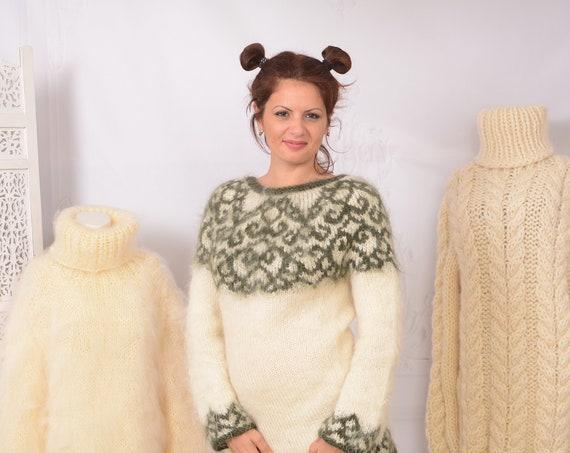 Lopi Mohair Sweater, Icelandic Sweater, Icelandic women Sweater, Norwegian Sweater,Fait Isle jumper, Nordic Sweater T744