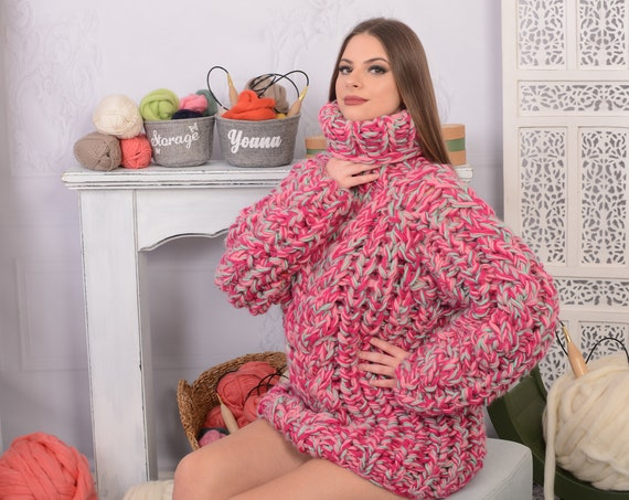 Chunky Knit Wool Sweater, Melange woolen Hand knit Pullover, Heavy sweater, Handknitted sweater T705W