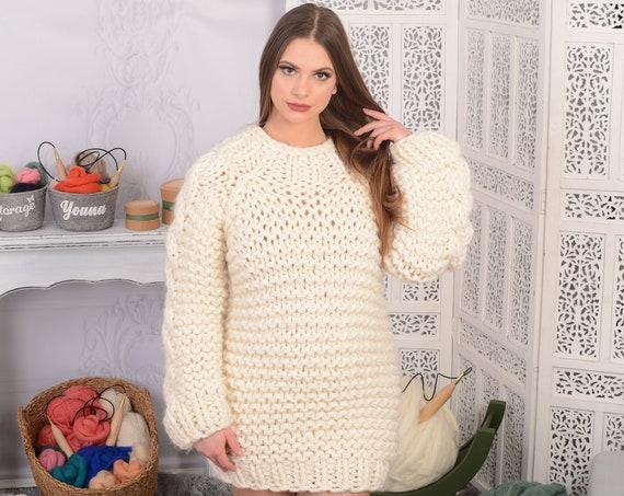 5 strands soft wool sweater, Hand Knit wool Sweater, Chunky woolen jumper T722W