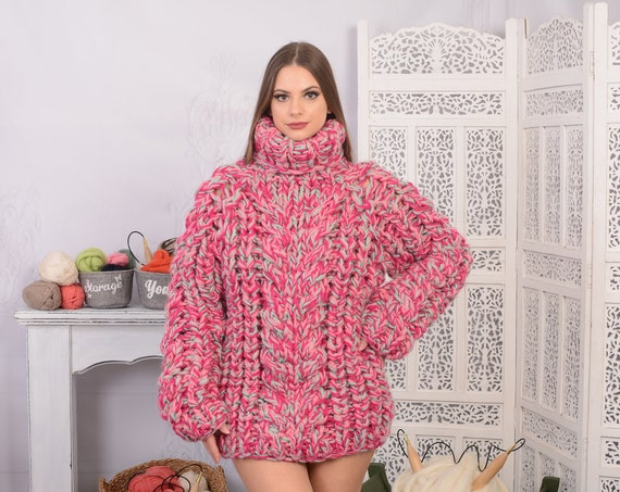 Ready to ship in size M Chunky Knit Wool Sweater, Melange woolen Hand knit Pullover, Heavy sweater, Handknitted sweater T705W
