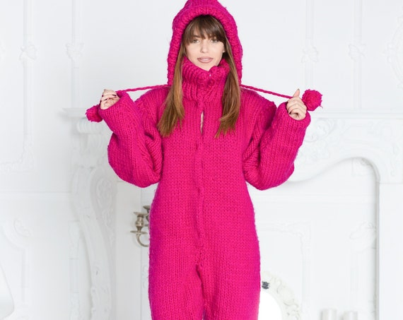3.5 kg Wool Catsuit, Hand Knit Woolen Overall, Hooded catsuit, Wool Jumpsuit, Chunky Huge Catsuit, Fetish Catsuit, Woolen romper T603