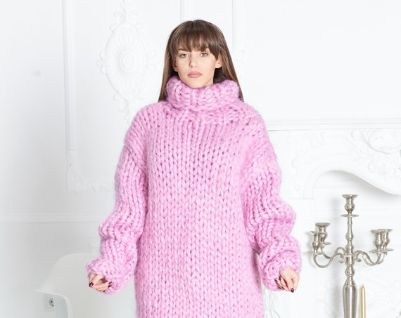 3 kg 15 strands Mohair Sweater, Hand Knit Huge Fetish Sweater T581