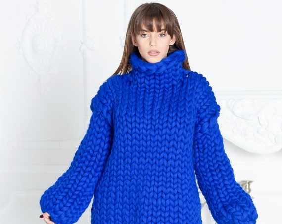 2 kg Blue  Merino Wool Sweater , Huge Super Chunky Knit Woolen Pullover, Marshmallow sweater, Giant knit sweater T604