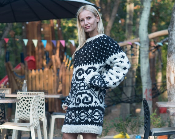 Ready to ship sweater in size 3XL, Icelandic Sweater - Handmade with 100% Pure Soft Wool, Norwegian style sweater T819